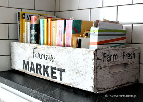 Farmers market for cookbooks the red painted cottage for Painted crate ideas
