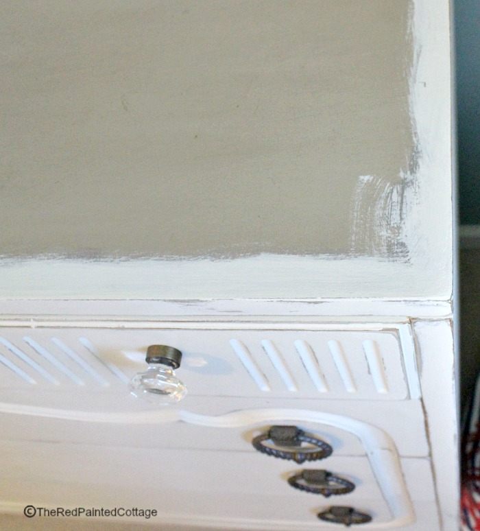 The top of the dresser doesn't need painting if you're adding wood planks.