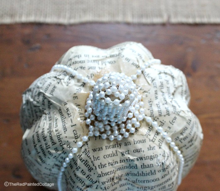 DIY Rustic Book Page Pumpkin With Classy Pearls, The Red Painted Cottage