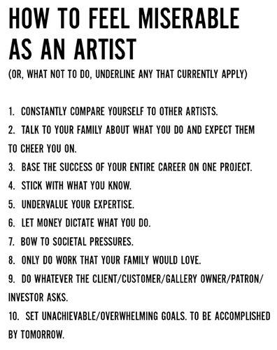 What an artist should NOT do