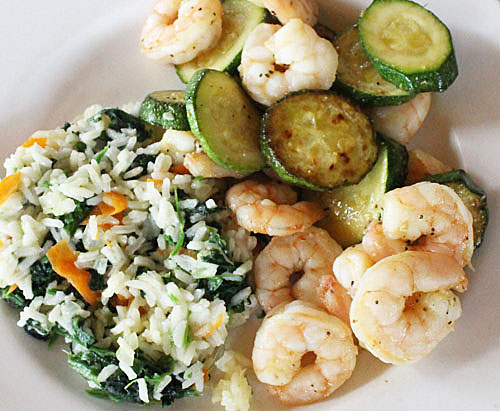 Lemon-Pepper Shrimp and Zucchini with Carrot and Spinach Rice Pilaf