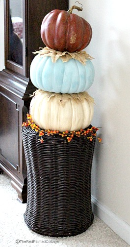 Finished stacked pumpkins for indoor use.  Burlap leaves are layered between the stacking.  Great tutorial!  The Red Painted Cottage