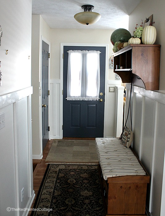 Board and Batten in our entryway is finished. Easy and inexpensive and you can do it to, just follow the easy tutorial.