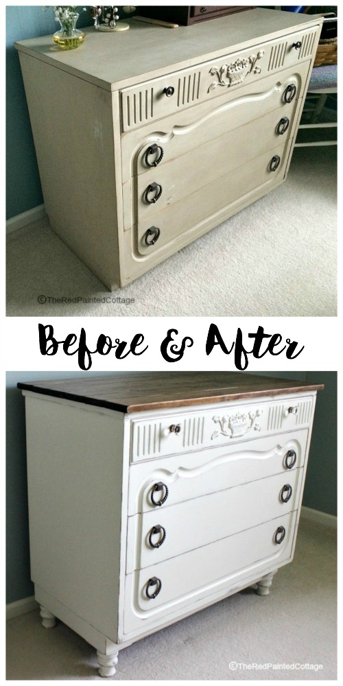 Unbelievable transformation of this awesome dresser with added legs, planked top, glass knobs on top drawer and paint! The Red Painted Cottage