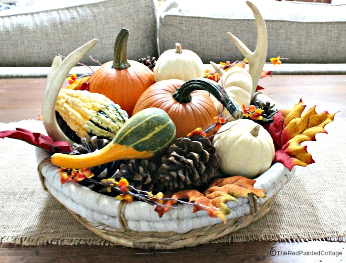 Autumn centerpiece with pumpkins and all other natural finds from nature.