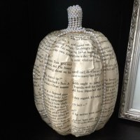 DIY Rustic Book Page Pumpkin With Classy Pearls