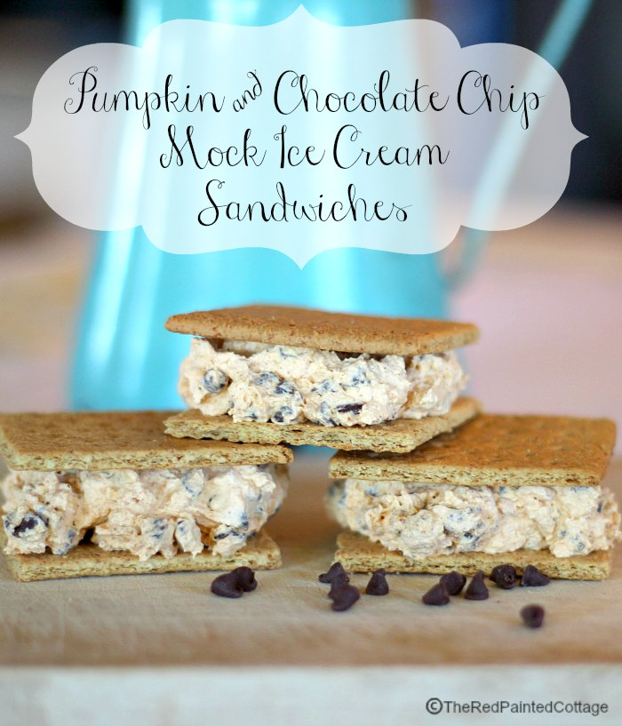 Pumpkin and Chocolate Chip Mock Ice Cream Sandwiches by The Red Painted Cottage