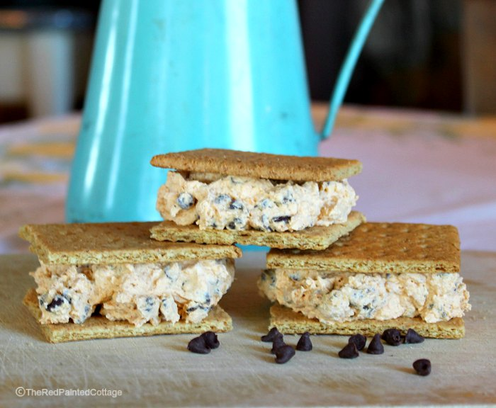 pumpkin and chocolate chip ice cream sandwiches by The Red Painted Cottage
