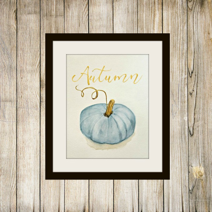 Free Blue Watercolor Pumpkin Printable For Autumn, The Red Painted Cottage