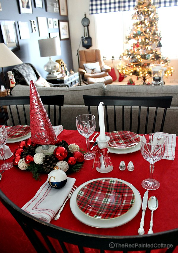 Red And White Tablescape For Christmas Eve - The Red Painted Cottage