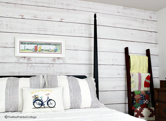 The Easiest Faux Shiplap, Ever - The Red Painted Cottage