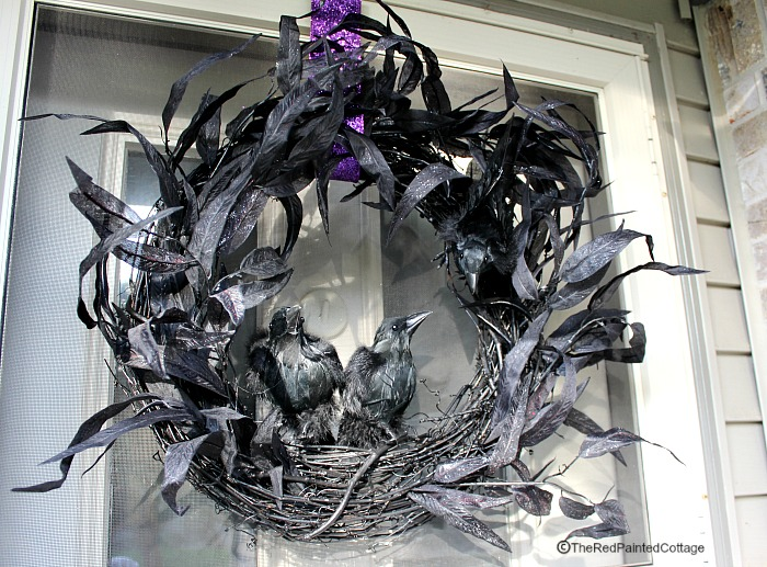 DIY Scary Ravens Wreath For Halloween