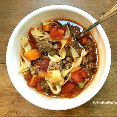 Ground Beef Vegetable Noodle Soup