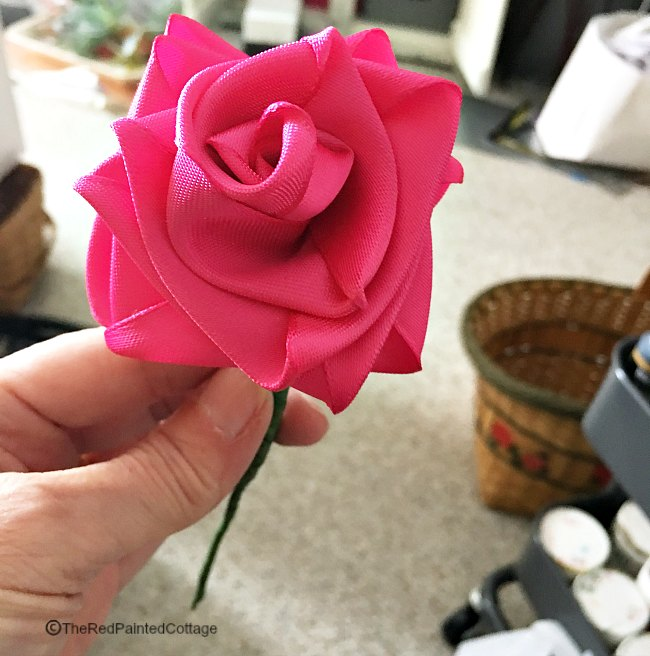 diy easy ribbon roses the red painted cottage
