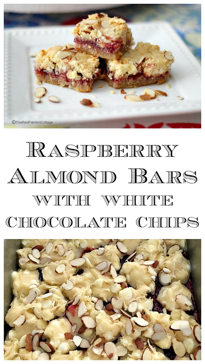 Raspberry Almond Bars With White Chocolate Chips collage